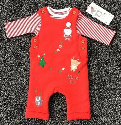 Mothercare Baby Girls 2 Piece Dungarees Christmas Outfit 3.4 Kg New With Tags
