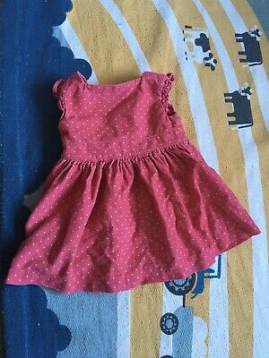 Baby Girl 0-3 Months Marks And Spencer M&S Red Polka Dot Dress Pinafore