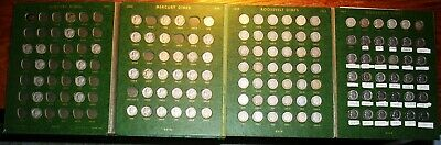 92 Silver Mercury Roosevelt Dime Lot Collection 122 Total 1916-1981 Whitman