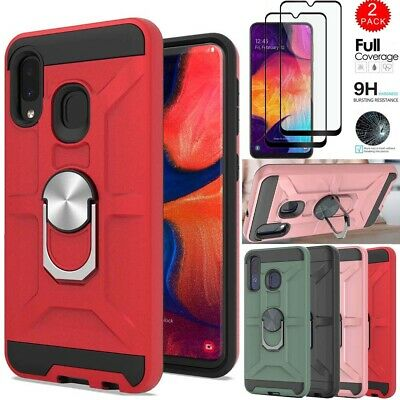 For Samsung Galaxy A10e A20 A30S A50 Rugged Ring Holder Case+Full Tempered Glass