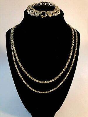 "Vtg 14KT Solid Yellow Italian Gold Necklaces25""/18"" Bracelet 7"" Lot NR! 19grams"