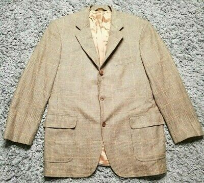 Brooks Brothers Mens 42R Cashmere Wool Brown Houndstooth Sport Coat Blazer