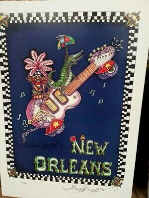 Jamie Hayes guitar new orleans music kitties cat voodoo dolls signed print