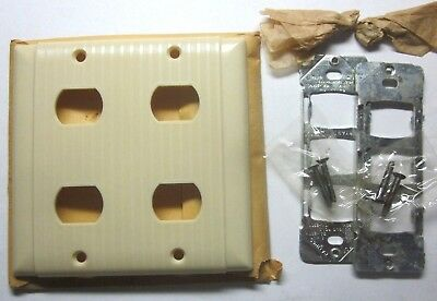 Bryant Uniline 2-Gang Despard 4 Switch Plate Wall Cover 1 Ribbed Ivory Bakelite