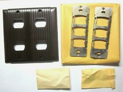 Bryant Uniline 2-Gang Despard 4 Switch Plate Wall Cover 1 Ribbed Brown Bakelite