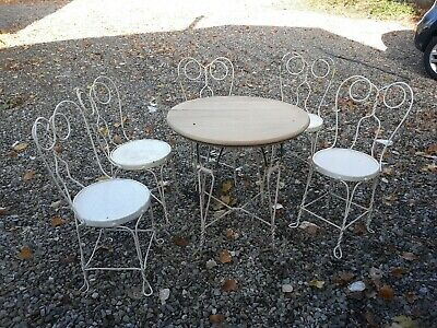 RARE Vintage Ice Cream Parlor 5 Chairs Set Table Twisted Metal