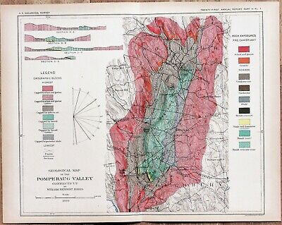 1899 Pomperaug Valley Connecticut Map New Haven Woodbury Geological ORIGINAL