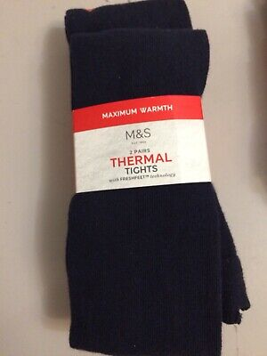 BNWT M&S 2 PAIRS , 'Freshfeet' NAVY THERMAL  GIRLS Tights 6-7 YEARS