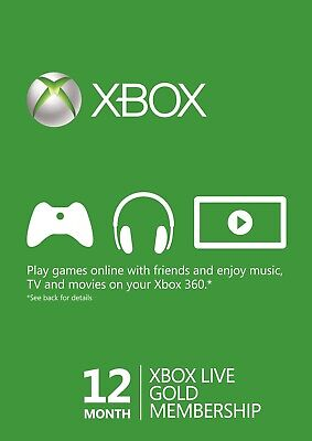 Xbox Live 12 Month Gold Membership Account