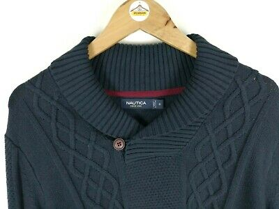 Mens NAUTICA Shawl Neck Chunky Cable Knit Jumper Pullover Sweater Blue | Medium