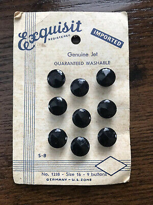 Genuine Jet Exquisit Vintage Buttons On Card - Germany U.S. Zone