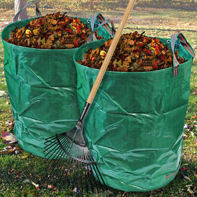 2 x Round Garden Waste Bags Heavy Duty Reinforced Refuse Sacks With Handles