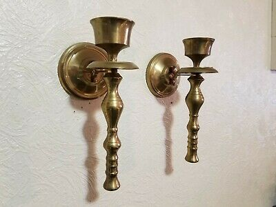 "Vintage Pair of 2 Brass Wall Sconces Candle Holders 9 1/4"" Tall Made In India"