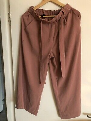 New Look cropped wide leg dusty pink trousers size 10