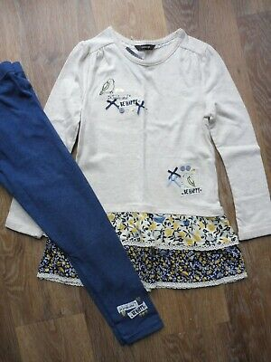 BNWT age 6-7 Really cute girl's tunic dress and leggings set - smile & be happy!