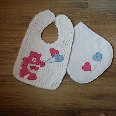 Pink Bear Baby bib Burp cloth Set Chenille boutique Sewandsews applique handmade