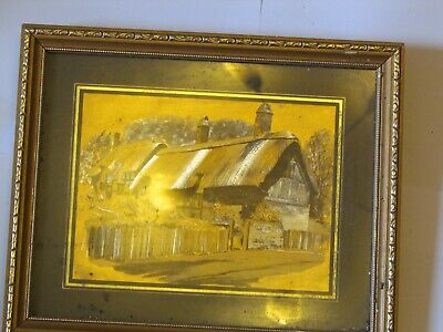 Copper Effect Etching Of Cottage Or Use As Picture Frame