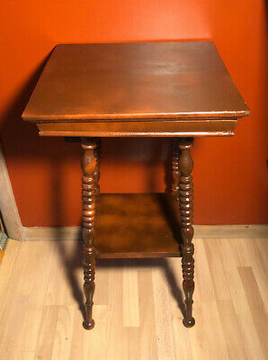 Antique Wood Side Table Bobbin Legs Two Tier Ball Turned Turn Of The Century