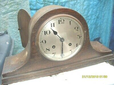 Mantel Clock Napolean Hat Ting Tang Striking Working Key & Pendulum Dusty Case