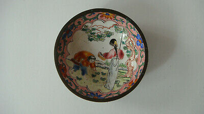 Antique Chinese Bronze Hand Painted Enamel Bowl