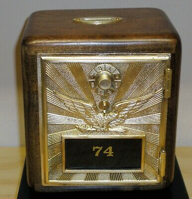 Post Office Box Door Bank - Early 1900's Yellow Brass Eagle - Size #2 Walnut