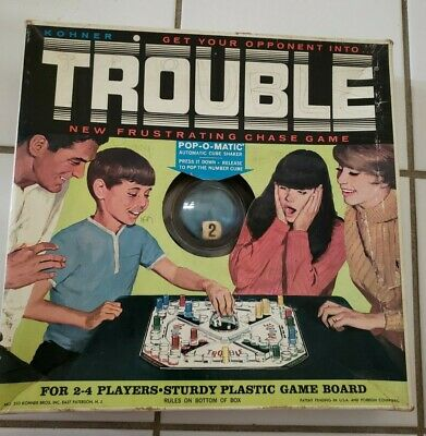 Vintage 1965 Trouble Classic Board Game #310 Kohner Bros Inc. 99% Complete