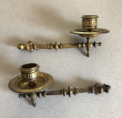 Intricate Antique Victorian Brass pair of Piano Sconces Candle holders