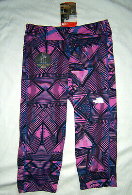 The North Face G Pulse Capri Leggings Girls L 14/16 Large  NWT Pink Blue