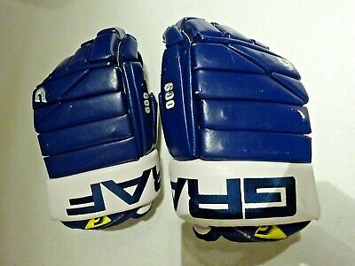 """Used GRAF 600 Pro Stock Toronto Maple Leafs Hockey Gloves Adult Small 13"""""""