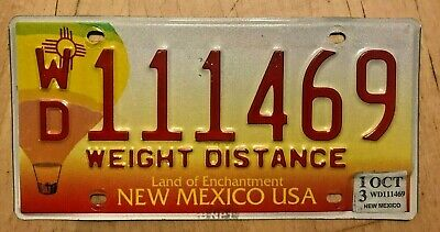 """2013 New Mexico Weight Distance Truck Pro Rate License Plate """" Wd 111469 """" Nm"""