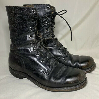 VTG Vietnam Era 1968 Black LEATHER Military COMBAT Field BOOTS US Size 9 R
