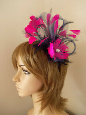 Navy Blue Cerise Hot Pink Fascinator feathers diamante headband alice