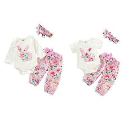 Newborn Baby Girl Easter Rabbit Romper Floral Long Pant Headband Outfits Clothes