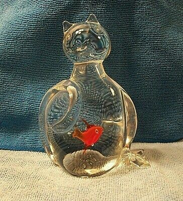 Vintage Murano Style Glass Catfish/ Cat Figurine w/ A Fish in His Belly