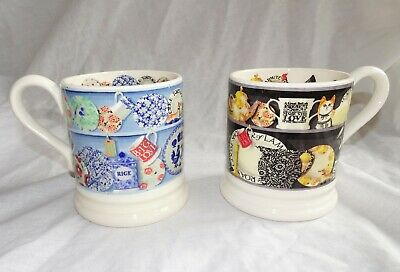 2 Emma Bridgewater mugs. Kitchen Dresser, Black Dresser, 1/2 Pint. Sanderson