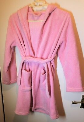 George age 9 to 10 Pink Fluffy Dressing Gown with Hood and Attached Tie Belt