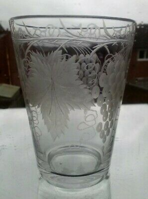 Antique Victorian Glass Tumbler Etched Grape And Vine Pattern