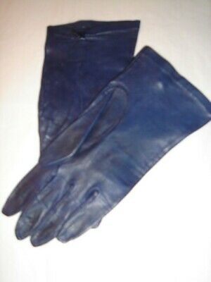 Vintage Fownes navy blue leather gloves Small