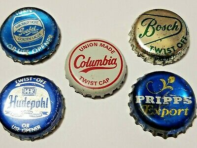 FIVE Vintage 1950s Beer Bottle Caps -  HUDEPOHL PRIPPS BOSCH GOEBEL COLUMBIA