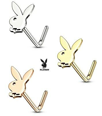 Genuine Playboy Nose Stud L Bend Right Angle Pin 18g Gold Silver Rose Gold