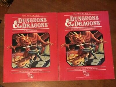 Dungeons and Dragons Players Manual and Dungeon Masters Rulebook red cover 1983