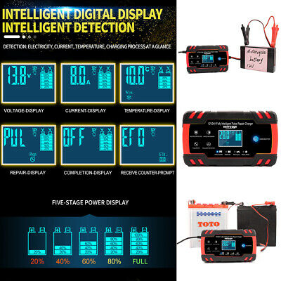 4A 8 Amp Intelligent Car Battery Charger Pulse Repair Starter 12V/24V AGM/GEL US