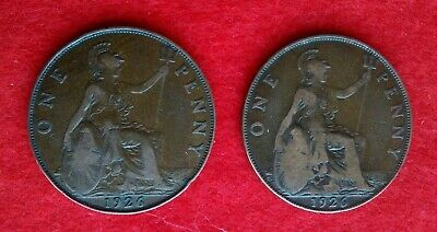 Two 1926 British Pennies George V - 1 Normal Effigy And 1 Modified Effigy