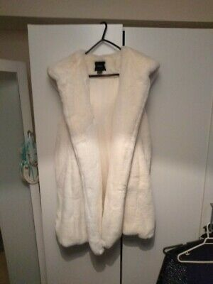 Ivory faux fur gilet with hood ladies girls small to medium