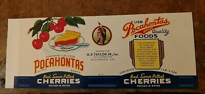 VA RARE TIDEWATER CHERRIES CAN LABEL File Copy 1940/'s TAYLOR /& SLEDD RICHMOND