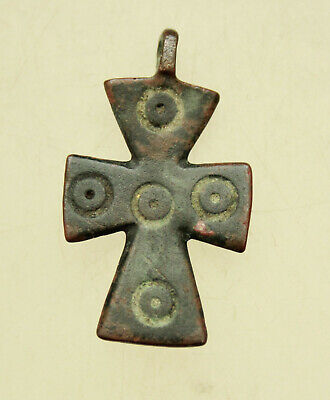 Ancient Roman Bronze Cross with Decorations Nice Green Patina L=33x20mm 4,3g.