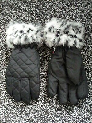 Girls 7-10 Years Cold Winter Gloves snow leapord faux fur trim 3m insulation