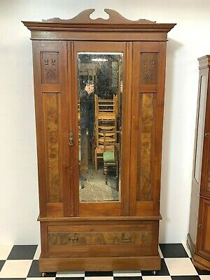 Stunning antique Edwardian carved walnut wardrobe drawer mirror door brass handl