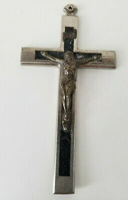 Antique Vintage Large Silver Cross inlaid with Black and Crucified Jesus Pendant