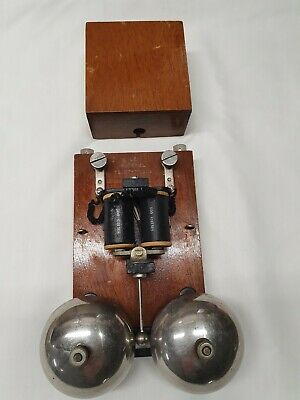 Vintage  Electric Door, Butler Bell Antique Pine Finish Chrome Dome